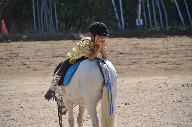 A person riding a horse in the dirt